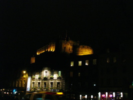 Castle at night from Grassmarket St.