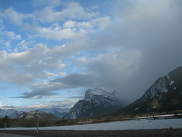 Mount Rundle in the clouds